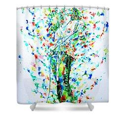 Robert Plant Singing - Watercolor Portrait Shower Curtain by Fabrizio Cassetta