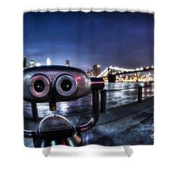 Robot Views Shower Curtain by Andrew Paranavitana