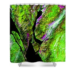 Rock Art 17 In Green Shower Curtain by Bill Caldwell -        ABeautifulSky Photography