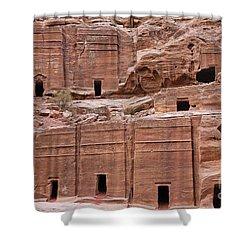 Rock Cut Tombs On The Street Of Facades In Petra Jordan Shower Curtain by Robert Preston