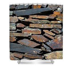 Shower Curtain featuring the photograph Rock Wall Of Slate by Bill Gabbert