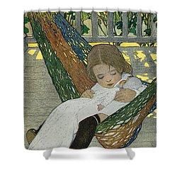 Rocking Baby Doll To Sleep Shower Curtain by Jessie Willcox Smith