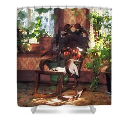 Rocking Chair In Victorian Parlor Shower Curtain by Susan Savad