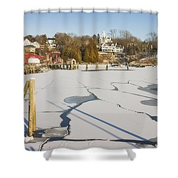 Rockport Maine In Winter Shower Curtain by Keith Webber Jr