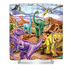 Rocky Mountain Dinos Shower Curtain by Mark Gregory