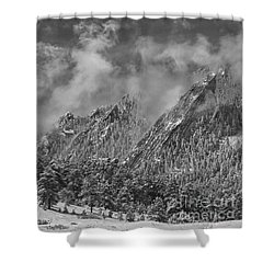 Rocky Mountain Dusting Of Snow Boulder Colorado Bw Shower Curtain by James BO  Insogna