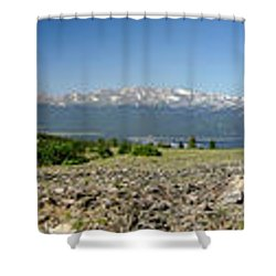 Rocky Mountain Rooftop Panoramic Shower Curtain by Jeremy Rhoades