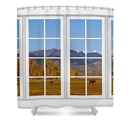 Rocky Mountains Horses White Window Frame View Shower Curtain by James BO  Insogna