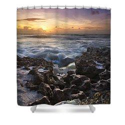 Rocky Shore Shower Curtain by Debra and Dave Vanderlaan
