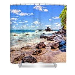 Rocky Shoreline Shower Curtain by Dominic Piperata