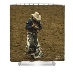 Rodeo Cowboy Dusting Off Shower Curtain by Janice Rae Pariza
