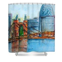 Roebling Bridge Near Dusk Shower Curtain by Elaine Duras