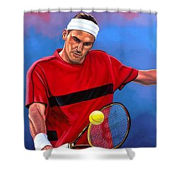 Roger Federer The Swiss Maestro Shower Curtain by Paul Meijering