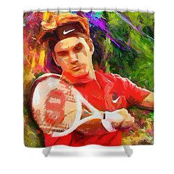 Roger Federer Shower Curtain by RochVanh