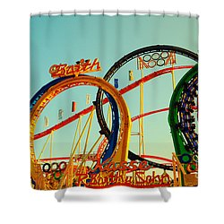Rollercoaster At The Octoberfest In Munich Shower Curtain by Sabine Jacobs