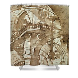 Roman Prison Shower Curtain by Giovanni Battista Piranesi