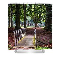 Romantic Bridge To Shadow Place. De Haar Castle Shower Curtain by Jenny Rainbow