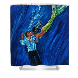 Romantic Rescue Shower Curtain by Leslie Allen