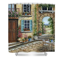 Romantic Tuscan Courtyard Shower Curtain by Marilyn Dunlap