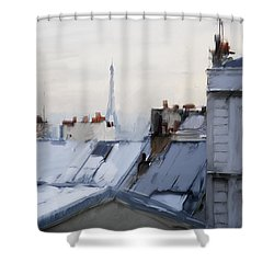 Rooftops Of Paris Shower Curtain by H James Hoff