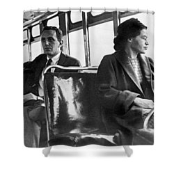 Rosa Parks On Bus Shower Curtain by Underwood Archives