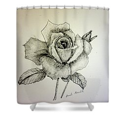 Rose In Monotone Shower Curtain by Pamela  Meredith