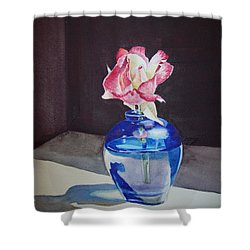 Rose In The Blue Vase II Shower Curtain by Irina Sztukowski