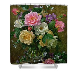 Roses In A Glass Vase Shower Curtain by Albert Williams