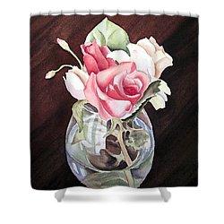 Roses In The Glass Vase Shower Curtain by Irina Sztukowski