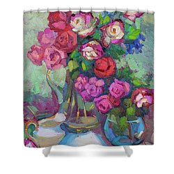 Roses In Two Vases Shower Curtain by Diane McClary