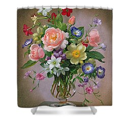 Roses Peonies And Freesias In A Glass Vase Shower Curtain by Albert Williams