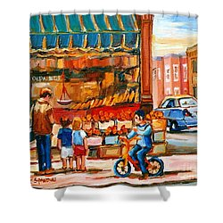 Roter's Fifties Fruit Store Vintage Montreal City Scene Paintings Shower Curtain by Carole Spandau