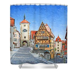 Rothenburg Germany Shower Curtain by Mike Rabe