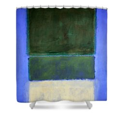 Rothko's No. 14 -- White And Greens In Blue Shower Curtain by Cora Wandel