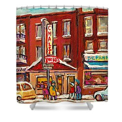 Rotisserie Le Chalet Bar B Q Sherbrooke West Montreal Winter City Scene Shower Curtain by Carole Spandau
