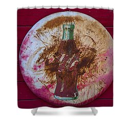 Round Coke Sign Shower Curtain by Garry Gay