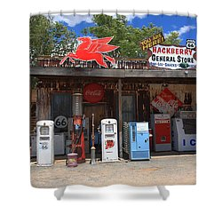 Route 66 - Hackberry General Store Shower Curtain by Frank Romeo