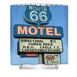 Route 66 Motel Sign 3 Shower Curtain by Bob Christopher