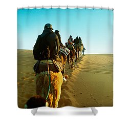 Row Of People Riding Camels Shower Curtain by Panoramic Images