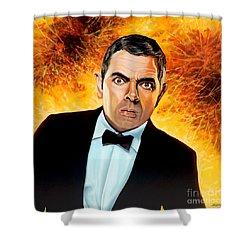 Rowan Atkinson Alias Johnny English Shower Curtain by Paul Meijering