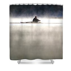 Rowing Shower Curtain by Mitch Cat