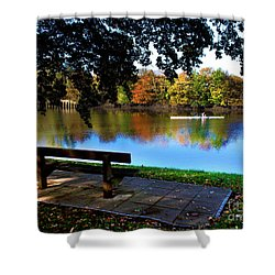 Rowing The Itchen In Autumn Shower Curtain by Terri Waters