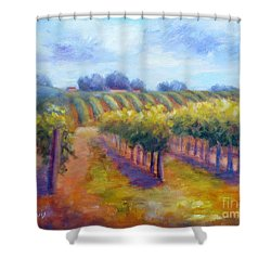 Rows Of Vines Shower Curtain by Carolyn Jarvis