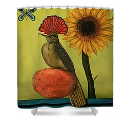Royal Flycatcher  Shower Curtain by Leah Saulnier The Painting Maniac