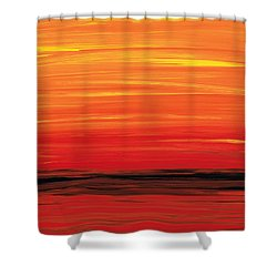 Ruby Shore - Red And Orange Abstract Shower Curtain by Sharon Cummings