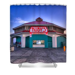Ruby's Diner On The Pier Shower Curtain by Spencer McDonald