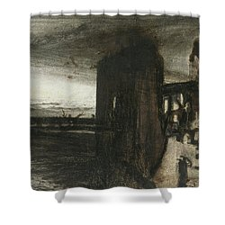 Ruins In A Landscape Shower Curtain by Victor Hugo