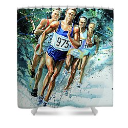 Run For Gold Shower Curtain by Hanne Lore Koehler