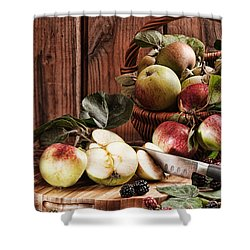 Rustic Apples Shower Curtain by Amanda And Christopher Elwell
