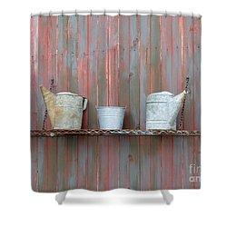 Rustic Garden Shelf Shower Curtain by Ann Horn